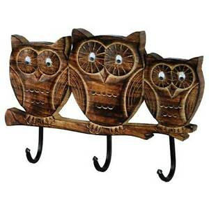 image is loading wall coat hooks owl design solid mango wood carved solid mango wood