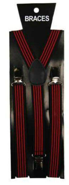 100% Verdadero Moda Unisex Novedad Elaborado Vestido Tirantes Vertical Negro Y Rojo Raya Imprimir-ver