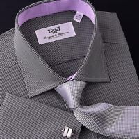 Small Mini Black Gingham Check Formal Business Dress Shirt Contrast Lilac Colors