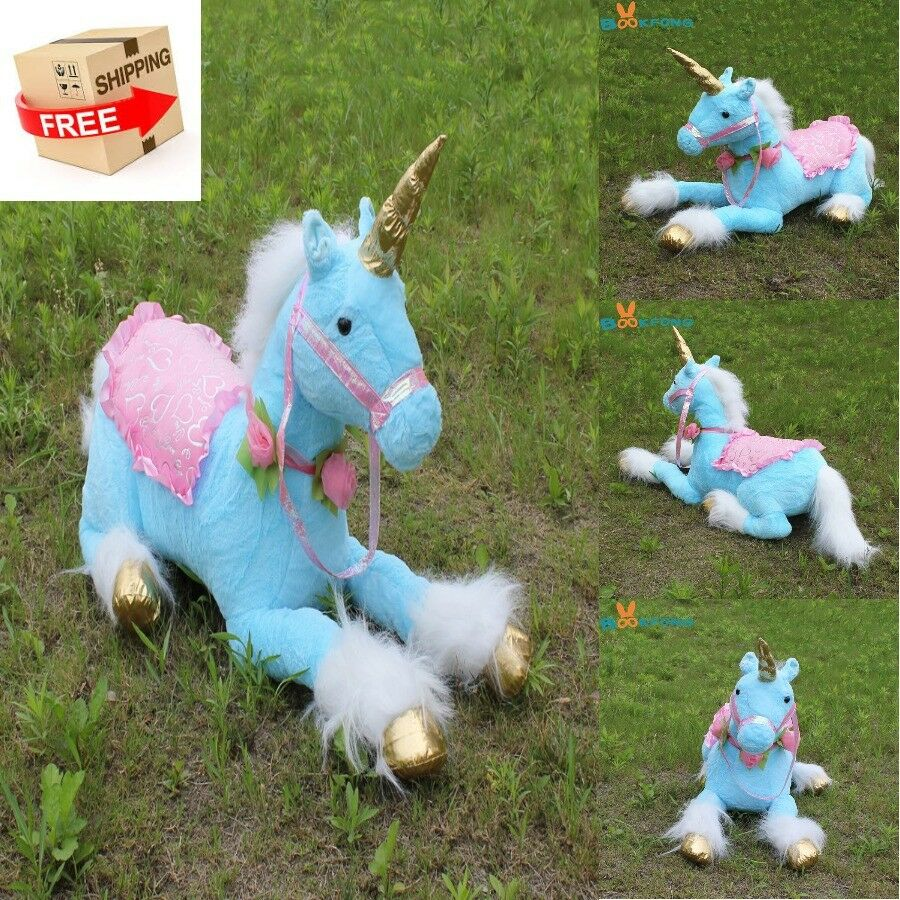 Giant Blau Unicorn Soft Plush Stuffed Animal Toy Doll For Kids Best Gift 85cm