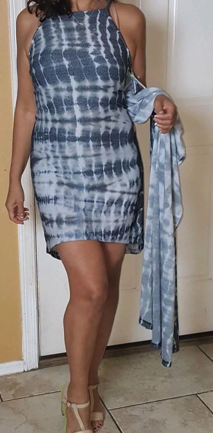 New  American Twist Size M   Soft Tie Dye Bodycon Mini Maxi Dress
