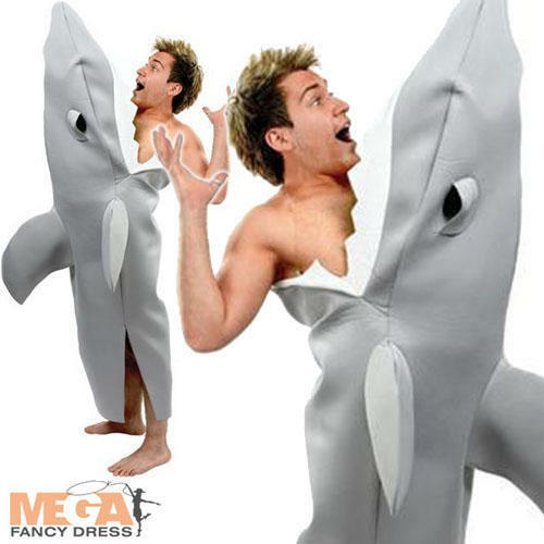 Shark Adults Fancy Dress Sea Animal Mens Ladies Costume Halloween Jaws Outfit