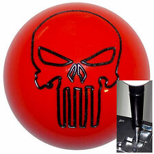 Dark Orange Punisher Skull shift knob for Dodge Chrys Jeep Auto w/ Blk Adapter
