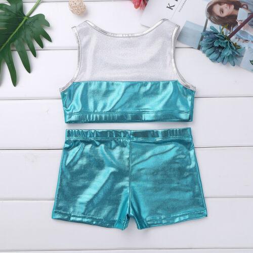 Girl Kid Ballet Street Dance wear Gymnastics Leotard Bra Tops+Shorts Swim Outfit