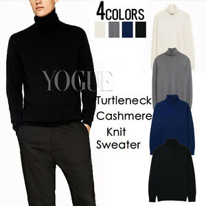 Mens-Knit-Turtleneck-Sweater-Pullover-Sweatshirt-Slim-Fit-Knitwear-Cardigan-Top