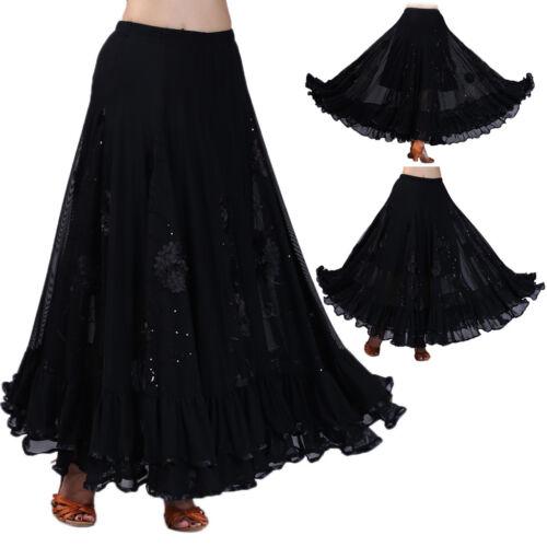 Prettyia Ladies Flamenco Ballroom Dance Waltz Big Swing Sequins Skirt Dress