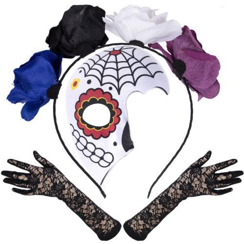 Lace Gloves Mexican Sugar Skull Mask Dead Set Flower Headband Valeria Mask