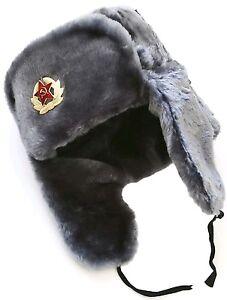 Russian ushanka winter hat. Gray Faux fur. Trapper Bomber Ear Flap ... fb7b313f87b