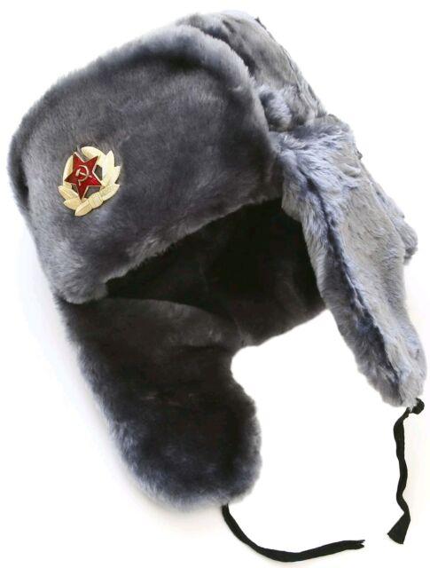 bdf943bb0de Russian ushanka winter hat. Gray Faux fur. Trapper Bomber Ear Flap Padded  Warm!