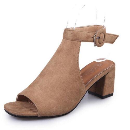 Femme Bloc Moyen Talon Plat ajourées avec Bout Ouvert Bride Cheville Sandales Chaussures