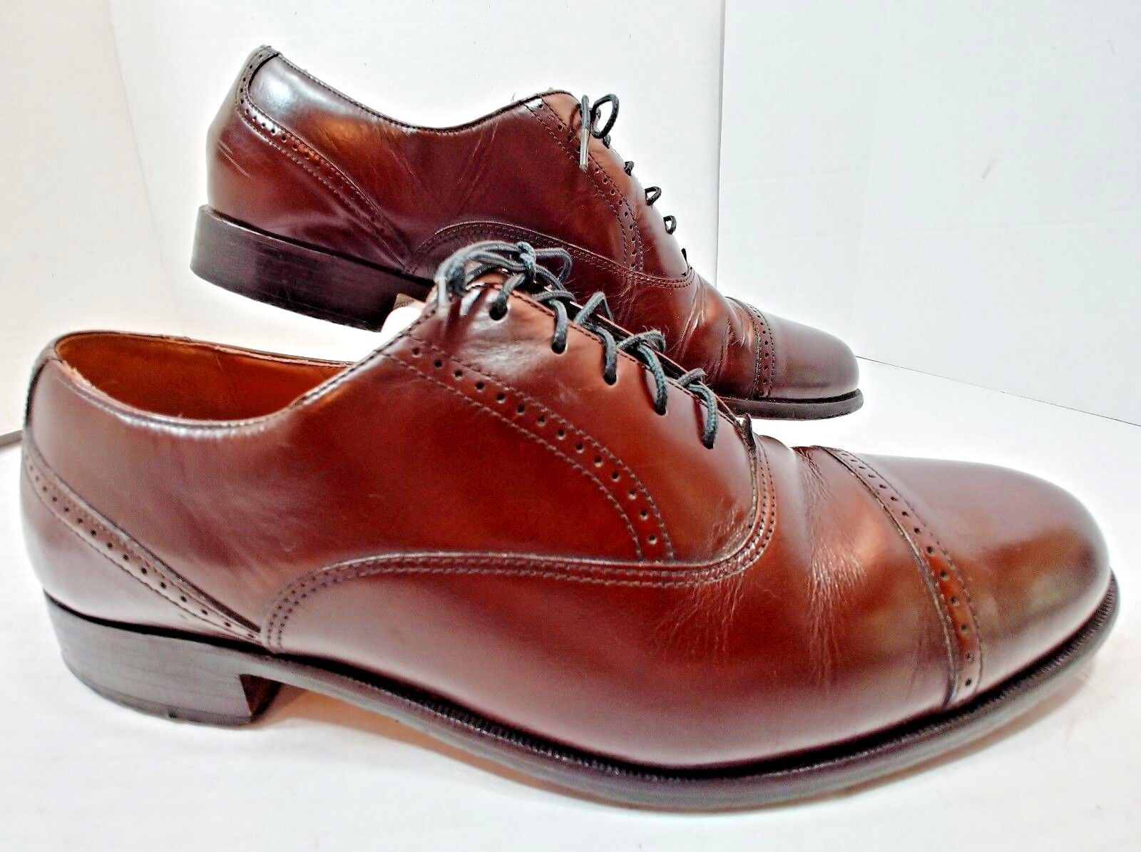 Bostonian Burgundy Cordovan Leather Oxford Lace Up Cap Toe Dress shoes Mens 10 M