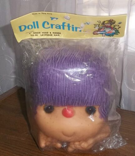 "Doll Craftin 6/"" Angie Head /& Hands Lavender Hair Vintage Mangelsen/'s NIP 163-90"