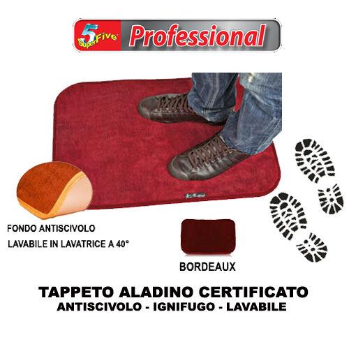 ALADINO 100x65 TAPPETO BORDEAUX ZERBINO CERTIFICATO ANTISCIVOLO IGNIFUGO