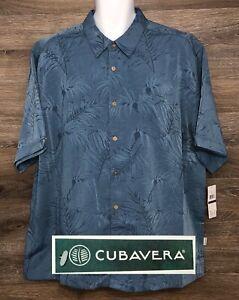 NWT-Cubavera-Men-039-s-Blue-Leaf-Print-Jacquard-Short-Sleeve-Button-Front-Shirt-2XL