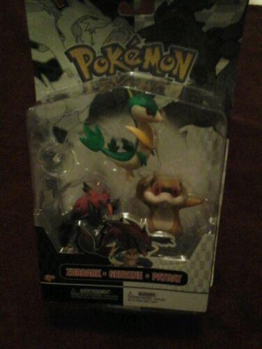Pokemon Patrat Servine Zoroark Mini-figurines 3 Figurines Pack Series Nouveau