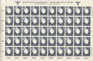 SALE-Stamp-Germany-Poland-General-Gov-039-t-Mi-109-Sheet-1943-WWII-War-Era-MNH