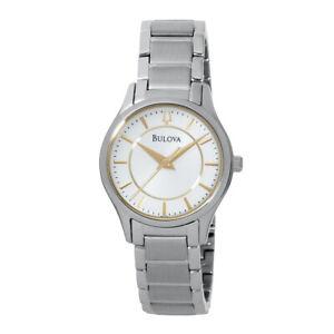 Bulova Women's Quartz White Dial Silver-Tone Bracelet 28mm Watch 96L175