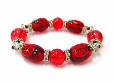 Lucky Red Ladybug Hand Painted Glass Beaded Stretch Bracelet New w/ Gift Bag