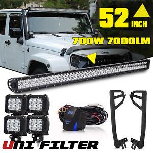 For-Jeep-Wrangler-JK-52INCH-700W-LED-Work-Light-Bar-4x-Pods-Cube-Mount-Bracket