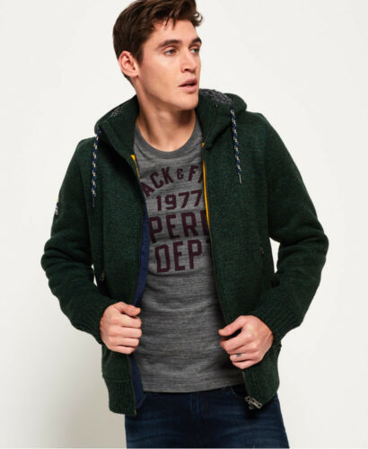 New Superdry Mens con Grit Giacca cappuccio Haze Zip Expedition Green rHr5qw
