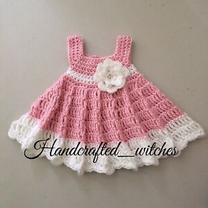 d0738509d8937 Crocheted Baby Dress, handmade baby outfit (0-3 Months) Set of dress ...