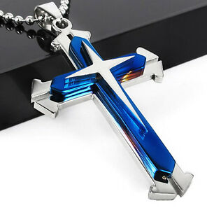 Men-Unisex-039-s-Blue-Silver-Stainless-Steel-Cross-Pendant-Necklace-Chain-Gift