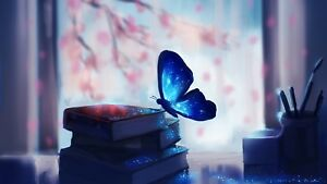 Book Magic Fantasy Calm Neutral Wall Art Poster Canvas Pictures Butterfly