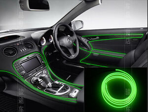 2m 12v auto interior trim panel edge green atmosphere cold light lamp line strip ebay. Black Bedroom Furniture Sets. Home Design Ideas