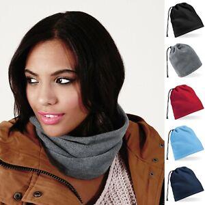 Mens Womens Ladies Fleece Snood Scarf Soft Neck Hat Cowl Warmer Ski Winter