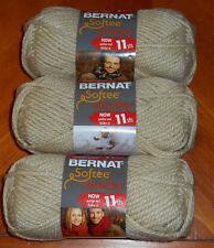 Bernat Softee Chunky Yarn Lot Of 3 Skeins (Linen #28021)