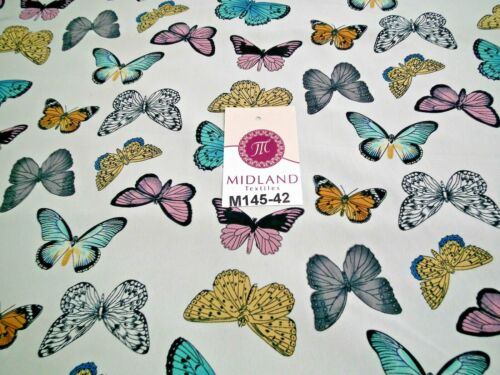 "Pearl White Butterfly Printed peach koshibo dress fabric 58/"" wide M145-42 Mtex"