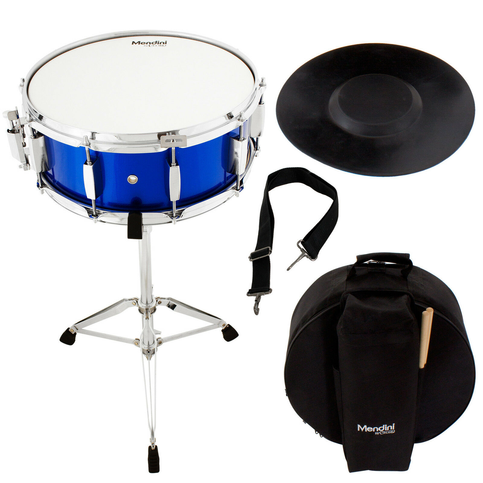 Mendini Student Blau Snare Drum Set mit Gig Bag Sticks Standpraxis Pad Kit