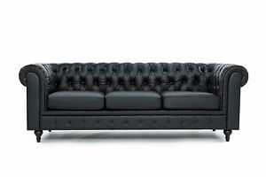 Image Is Loading Chesterfield Modern Tufted Button Black Bonded Leather Sofa