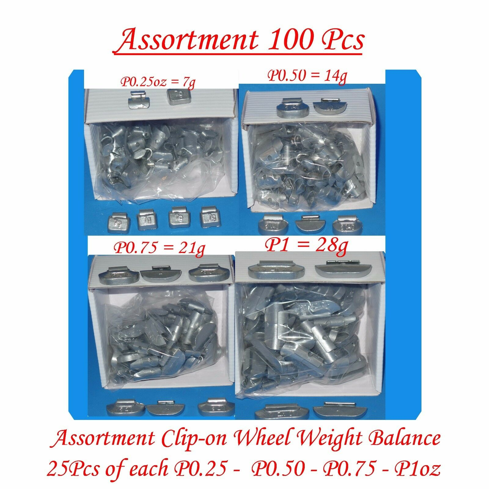 50 Pcs CLIP-ON WHEEL WEIGHT BALANCE 1.75oz 1-3//4oz P Style for Steel Wheel