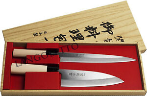 Set-2-Coltelli-Originali-Giapponese-SASHIMI-e-DEBA-Carne-Pesce-Lama-Acciaio-INOX