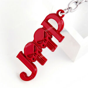 Red JEEP Punisher Metal Keychain Fob Ring 3D Key Chain for Wrangler Cherokee