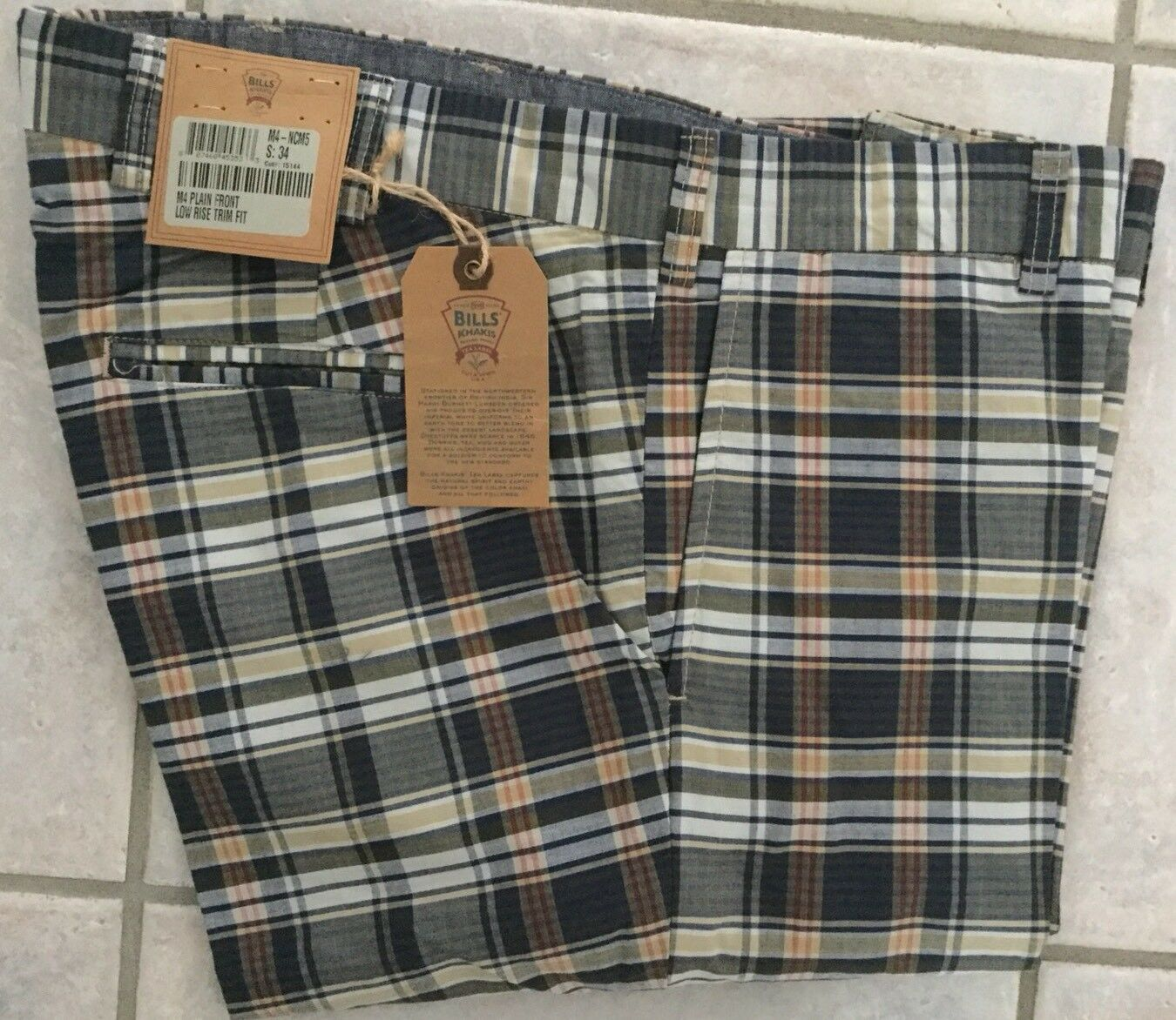 NWT-Bills khakis M4-NCM5 Size 34 PLAIN FRONT LOW RISE TRIM FIT PLAID