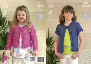 424d51005 King Cole Knitting Pattern 3748 Girls Lacy Cardigans 22-30