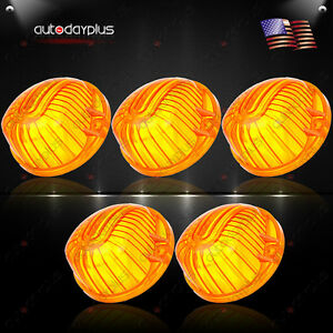 5x-Amber-Round-Shape-Cab-Marker-Light-9069A-Cover-Lens-for-1973-1991-Chevrolet