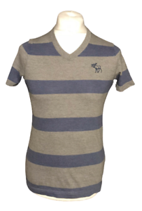 Abercrombie-amp-Fitch-Men-039-s-T-Shirt-Grey-Blue-Striped-Short-Sleeve-Small