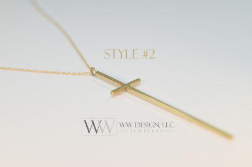 Minimaliste Long Cross Necklace 14k solid gold ou argent style de Kathie Lee Nene