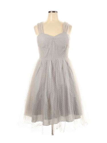 Unique Vintage Women Gray Cocktail Dress 2X Plus