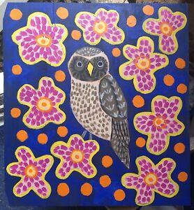 Original-Painting-Owl-In-Flowers-Bird-Art-Decorative-Wood-Panel