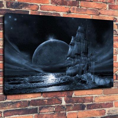 """""""dark Moon Per I Pirati"""" Scatola Stampata Foto Su Tela A1.30""""x20"""" 30mm Deep- Scelta Materiali"""