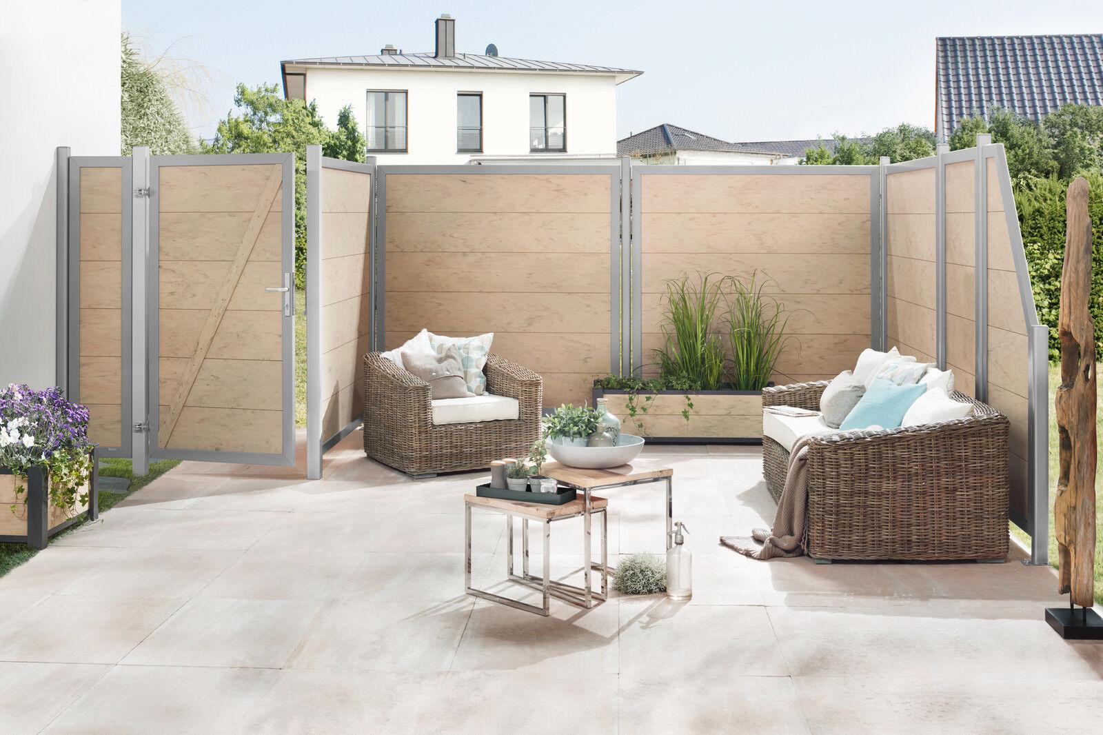 Sichtschutzzaun Design Wpc Alu Sand 180x180cm Gunstig Kaufen Ebay