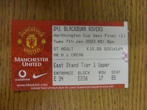 07-01-2003-Ticket-Football-League-Cup-Semi-Final-Manchester-United-v-Blackburn