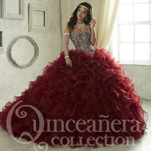 2017 Burgundy Dancer Quinceanera Dresses Luxury Beaded Prom Wedding