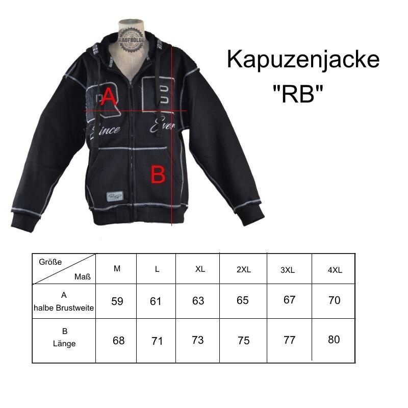Raufbolde streetwear Zip Hoody RB RB RB nero nero Body Building Fitness 9b4ca8