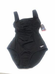 NWT-Speedo-Endurance-Shirred-Ruched-One-Piece-Swimsuit-Women-039-s-Size-6-Black