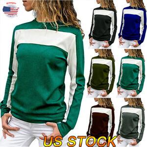Autumn-Women-Joint-Gored-T-Skirt-Tops-With-Stripe-Patten-Long-Sleeve-O-Neck-Tops